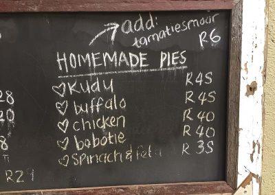 Speisekarte am Rastplatz Tshokwane